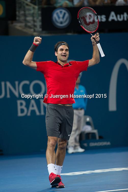 Roger Federer (SUI)<br /> <br /> Tennis - Brisbane International  2015 - ATP -   - Brisbane - QLD - Australia  - 11 January 2015. <br /> &copy; Juergen Hasenkopf