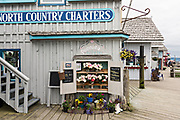 Cute flower shop selling locally grown peonies along the marsh boardwalk on Homer Spit on Kamishak Bay in Homer, Alaska.