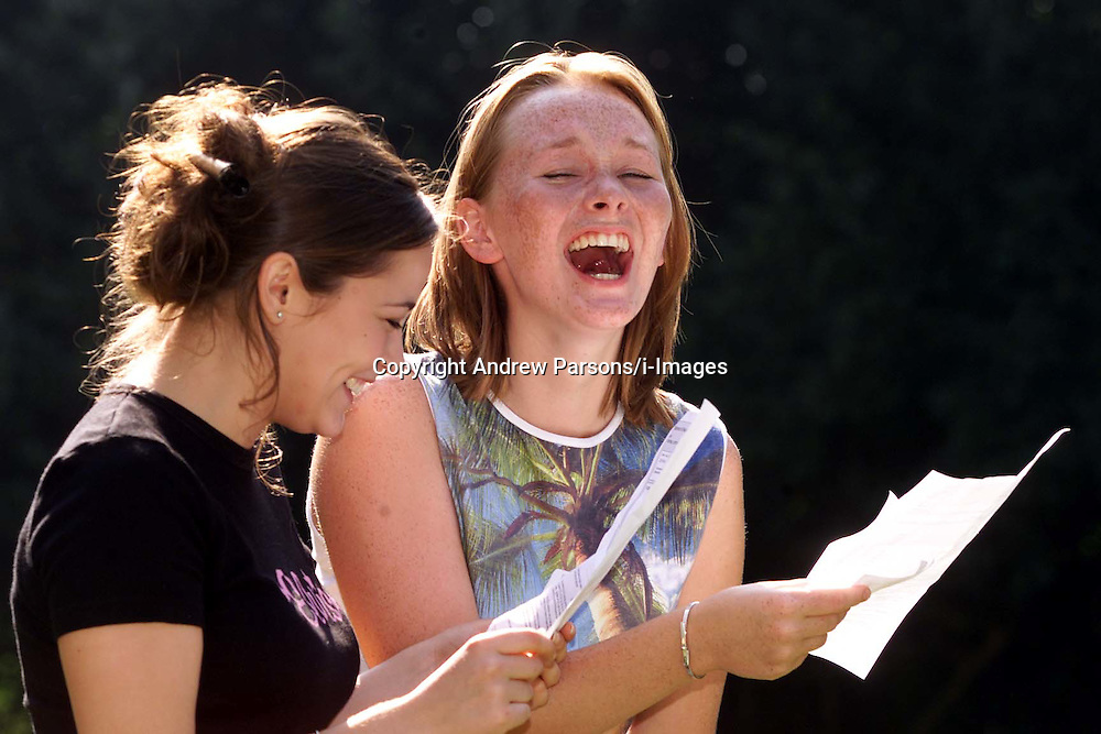 Day of GCSE results. Girls celebrate at St Mary's Girls school, Cambridge. t In black T-shirt - Mollie Bourne, 16, got 4A*s , 5 A, B, and Lucie Levings, 16, got 3 A, 5 B, 2 C. They are cousins..Photo by Andrew Parsons/i-Images.All Rights Reserved ©Andrew Parsons/i-images.See Instructions.