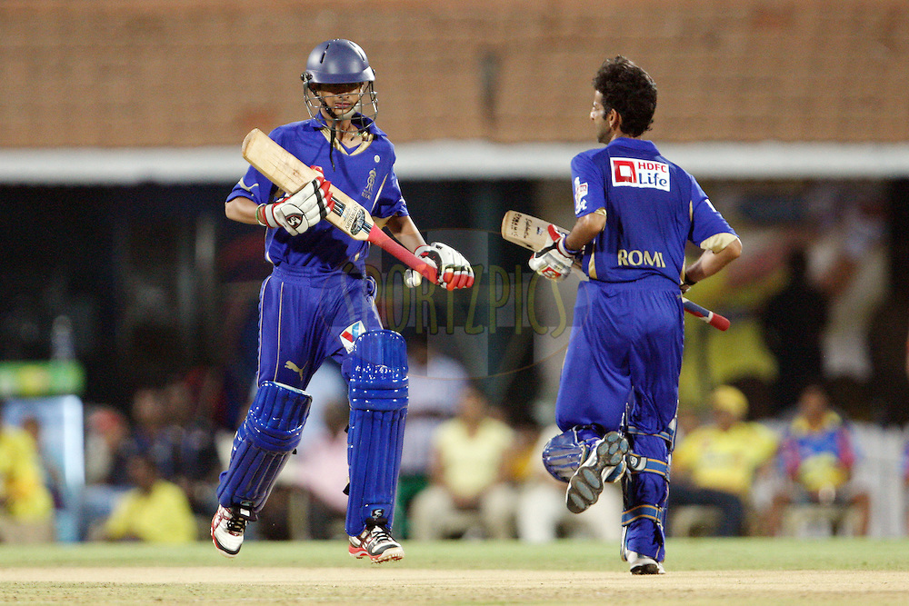 Aryaman Birla and Romi Bhinder take a single during match 26 of the the Indian Premier League ( IPL) 2012  between The Chennai Superkings Owners and the Rajasthan Royals Owners held at the M. A. Chidambaram Stadium, Chennai on the 21st April 2012..Photo by Jacques Rossouw/IPL/SPORTZPICS
