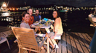 A dinner of barbecued fresh fish on the dock of our Inn in Culebra, Puerto Rico.