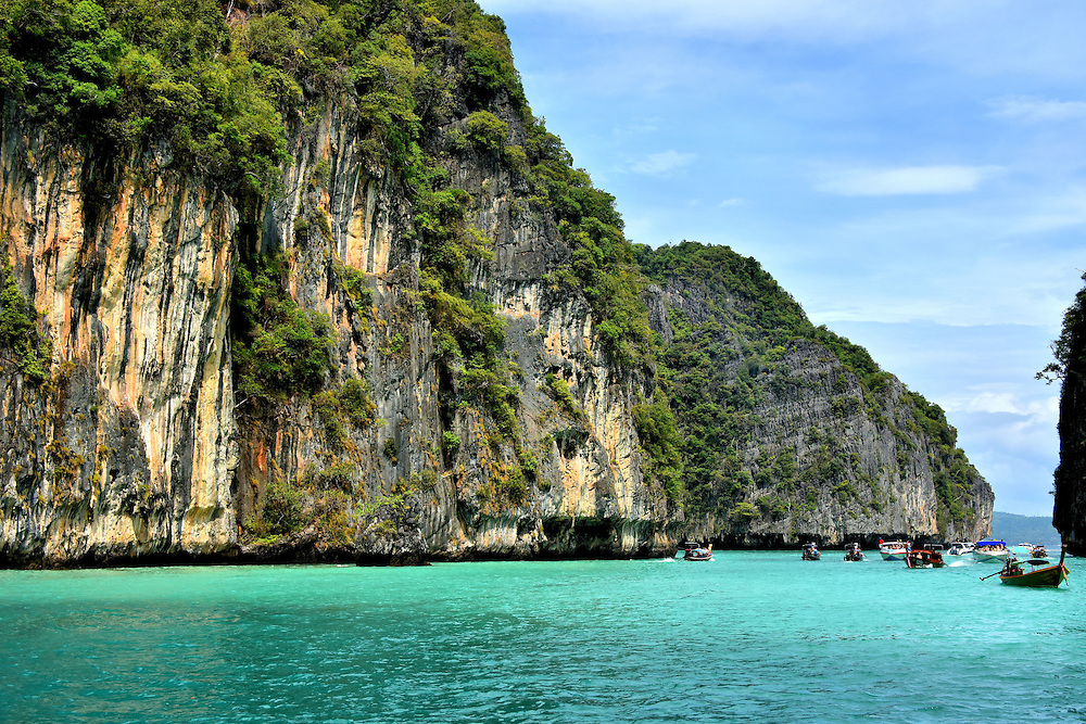 Cliff and Water at Pileh Cove on Phi Phi Ley, Thailand <br />