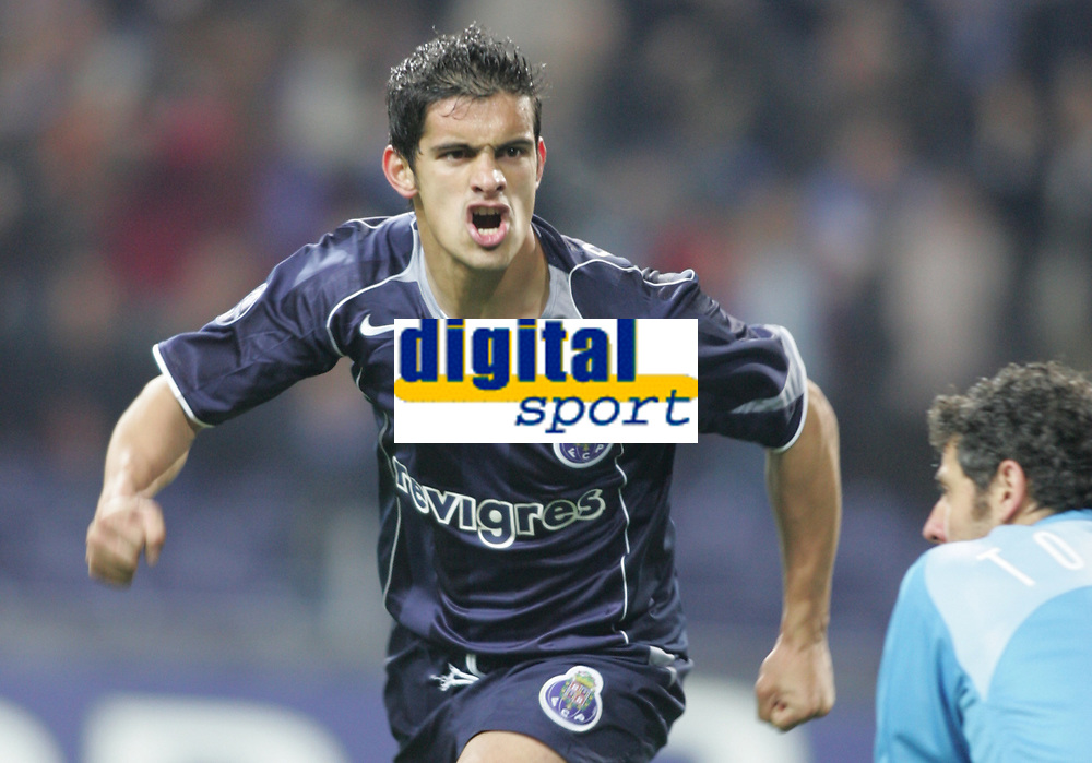 """PORTUGAL - PORTO 23 FEBRUARY 2005: RICARDO COSTA Moreira #5 celebrates FC Porto goal, First Knock-out Round First Leg of the UEFA Champions League, match FC Porto (#) vs FC Internazionale (#), held in """"Dragao"""" stadium  23/02/2005  21:02:11<br />(PHOTO BY: NUNO ALEGRIA/AFCD)<br /><br />PORTUGAL OUT, PARTNER COUNTRY ONLY, ARCHIVE OUT, EDITORIAL USE ONLY, CREDIT LINE IS MANDATORY AFCD-PHOTO AGENCY 2004 © ALL RIGHTS RESERVED"""