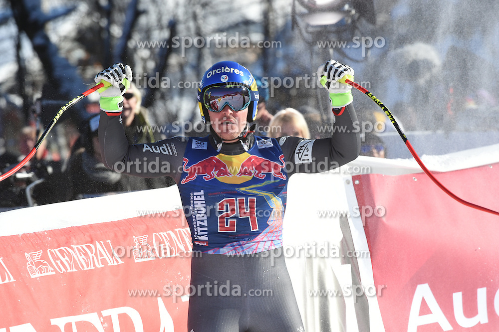 21.01.2017, Hahnenkamm, Kitzbühel, AUT, FIS Weltcup Ski Alpin, Kitzbuehel, Abfahrt, Herren, im Bild Moine Valentin Giraud (FRA, 2. Platz) // 2nd placed Moine Valentin Giraud of France celebrates after his run of men's downhill of FIS Ski Alpine World Cup at the Hahnenkamm in Kitzbühel, Austria on 2017/01/21. EXPA Pictures © 2017, PhotoCredit: EXPA/ Erich Spiess