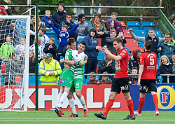 NEWTOWN, WALES - Saturday, May 2, 2015: The New Saints' Matthew Williams celebrates scoring the second goal against Newtown with team-mate Michael Wilde during the FAW Welsh Cup final match at Latham Park. (Pic by Ian Cook/Propaganda)