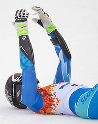 18.02.2014, Rosa Khutor Alpine Resort, Krasnaya Polyana, RUS, Sochi, 2014, Riesenslalom, Damen, 2. Durchgang, im Bild Olympiasiegerin Tina Maze (SLO) // olympic Champion Tina Maze of Slovenia reacts in the finish area during the 2nd run of ladies Giant Slalom to the Olympic Winter Games Sochi 2014 at the Rosa Khutor Alpine Resort, Krasnaya Polyana, Russia on 2014/02/18. EXPA Pictures © 2014, PhotoCredit: EXPA/ Johann Groder
