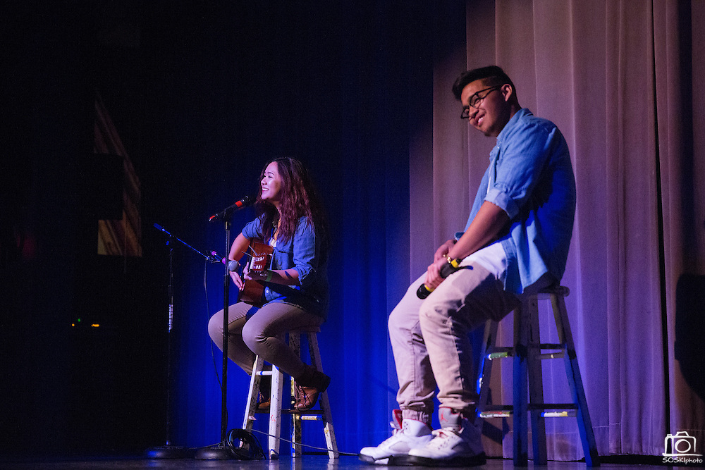 Vivian Huynh and Adrian Reyes, right, perform a duet during the Milpitas High School Talent Show at Milpitas High School in Milpitas, California, on February 5, 2016. (Stan Olszewski/SOSKIphoto)