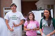 19035Campus shots students..Greek Recruitment..Natalie Roberts, Kaley Weiss(pink) and Corey Webb(white)