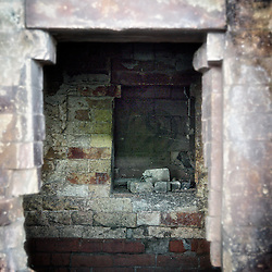 Interior, vertical view, of brick kiln artifact.<br />