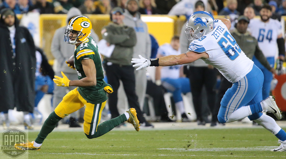 Green Bay Packers wide receiver Trevor Davis (11) for 9-yards in the 1st quarter. <br /> The Green Bay Packers hosted the Detroit Lions at Lambeau Field Monday, Nov. 6, 2017. STEVE APPS FOR THE STATE JOURNAL.