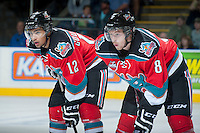 KELOWNA, CANADA - OCTOBER 5:   Tyrell Goulbourne #12 and Cole Martin #8 of the Kelowna Rockets line up against the Portland Winterhawks at the Kelowna Rockets on October 5, 2013 at Prospera Place in Kelowna, British Columbia, Canada (Photo by Marissa Baecker/Shoot the Breeze) *** Local Caption ***