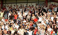Photo: Leigh Quinnell.<br /> Bournemouth v Swansea City. Coca Cola League 1. 14/10/2007. Swansea fans celebrate after their teams 4-1 defeat of Bournemouth.