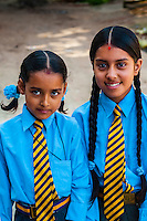 Nepalese school girls, Bhaktapur, Kathmandu Valley, Nepal.