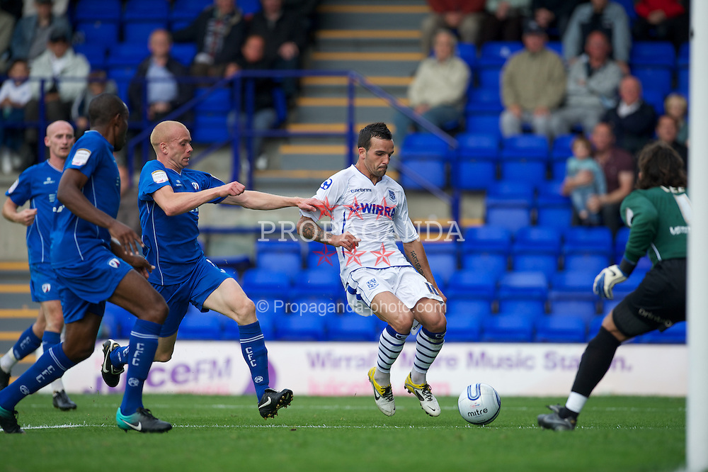 BIRKENHEAD, ENGLAND - Saturday, August 6, 2011: Tranmere Rovers' Robbie Weir scores the only goal of the game against Chesterfield during the opening Football League One match at Prenton Park. (Photo by David Rawcliffe/Propaganda)