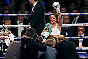 Terri Harper celebrates winning her fight against Eva Wahlstrom boxing before the Kell Brook vs Mark DeLuca WBO Inter-Continental Super Welterweight fight at the FlyDSA Arena, Sheffield, United Kingdom on 8 February 2020.