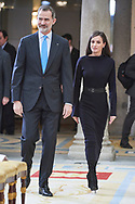 King Felipe VI of Spain, Queen Letizia of Spain attends the Delivery of the National Research Awards 2019 at Palacio Real de El Pardo on February 17, 2020 in Madrid, Spain