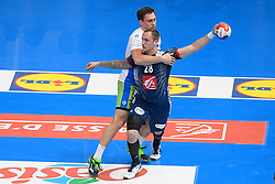 Porte Valentin and Cingesar Darko during 25th IHF men's world championship 2017 match between France and Slovenia at Accord hotel Arena on january 24 2017 in Paris. France. PHOTO: CHRISTOPHE SAIDI / SIPA / Sportida