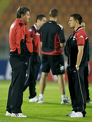 San Marino, San Marino - Wednesday, October 17, 2007: Wales' manager John Toshack and Neal Eardley before the Group D UEFA Euro 2008 Qualifying match against San Marino at the Serravalle Stadium. (Photo by David Rawcliffe/Propaganda)