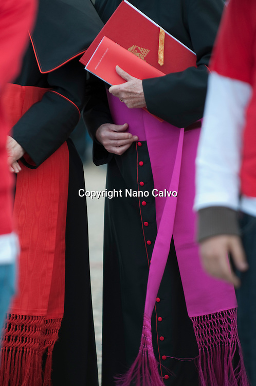 Cardinal Antonio Mar&iacute;a Rouco Varela, Archbishop of Madrid, during Christ on the way to Calvary, a christian parade in Plaza de Oriente of Madrid, during spanish Holy Week. <br /> <br /> Many people assisted to the popular Via Crucis.