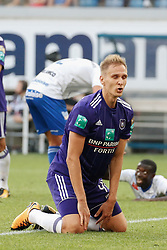 August 27, 2017 - Gent, BELGIUM - Anderlecht's Lukasz Teodorczyk reacts during the Jupiler Pro League match between KAA Gent and RSC Anderlecht, in Gent, Sunday 27 August 2017, on the fifth day of the Jupiler Pro League, the Belgian soccer championship season 2017-2018. BELGA PHOTO BRUNO FAHY (Credit Image: © Bruno Fahy/Belga via ZUMA Press)