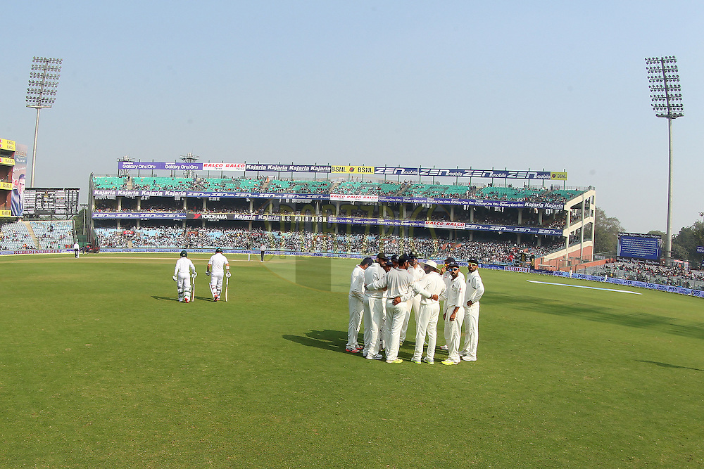 India team huddle during day two of the 4th Paytm Freedom Trophy Series Test Match between India and South Africa held at the Feroz Shah Kotla Stadium in Delhi, India on the 4th December 2015<br /> <br /> Photo by Ron Gaunt  / BCCI / SPORTZPICS