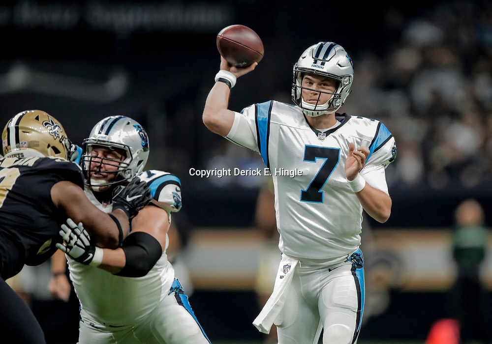 Dec 30, 2018; New Orleans, LA, USA; Carolina Panthers quarterback Kyle Allen (7) passes against the New Orleans Saints during the first quarter at the Mercedes-Benz Superdome. Mandatory Credit: Derick E. Hingle-USA TODAY Sports