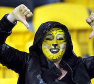 A badly-cropped Hurricanes fan. Super 15 rugby match - Hurricanes v Blues at Westpac Stadium, Wellington, New Zealand on Friday, 30 April 2011. Photo: Dave Lintott / photosport.co.nz