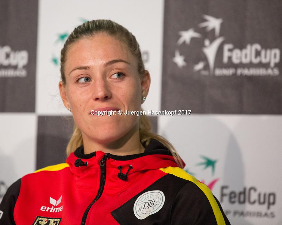 Fed Cup GER-UKR, Deutschland - Ukraine, <br /> Porsche Arena, Stuttgart, <br /> ANGELIQUE KERBER (GER) gibt Pressekonferenz nach ihrem Sieg,
