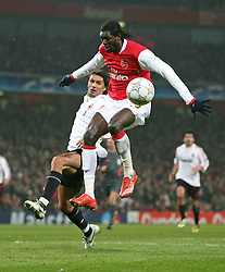 LONDON, ENGLAND - Wednesday, February 20, 2008 : Arsenal's Emmanuel Adebayor in action against AC Milan's Paulo Maldini during the UEFA Champions 1st Knockout Round, 1st Leg match at The Emirates Stadium. (Photo by Chris Ratcliffe/Propaganda)