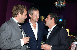 Left to right, SIMON MILLS, ANTON BILTON and LUCA DEL BONO at a party hosted by Panerai and the Baglioni Hotel, 60 Hyde Park Gate, London on 6th December 2004.<br />