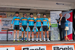 Riders of National Team Belgium on the podium for the sign-on at the Holland Ladies Tour, Zeddam, Gelderland, The Netherlands, 1 September 2015.<br /> Photo: Pim Nijland / PelotonPhotos.com