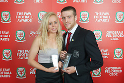 CARDIFF, WALES - Monday, October 8, 2012: Wales' Women's Young Player of the Year Nadia Lawrence and Men's Young Player of the Year Adam Matthews during the FAW Player of the Year Awards Dinner at the National Museum Cardiff. (Pic by David Rawcliffe/Propaganda)