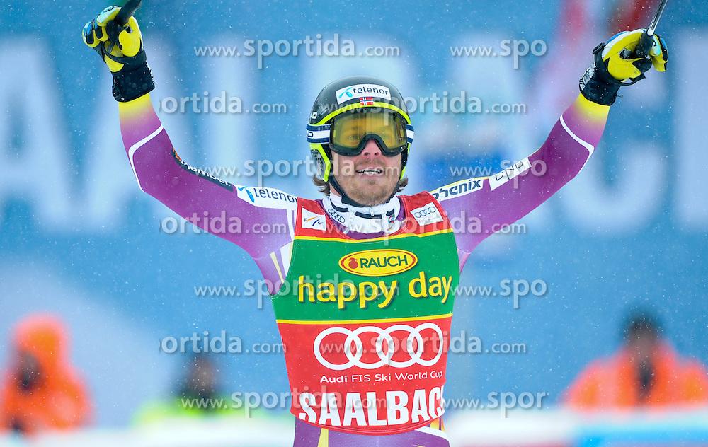 22.02.2015, Schneekristall Zwolfer Weltcupstrecke, Saalbach Hinterglemm, AUT, FIS Weltcup Ski Alpin, Super G, Herren, im Bild Kjetil Jansrud (NOR, 3. Platz) // third placed Kjetil Jansrud of Norway reacts after his run for the men's SuperG of the Saalbach FIS Ski Alpine World Cup at the Schneekristall Zwolfer course in Saalbach Hinterglemm, Austria on 2015/02/22. EXPA Pictures © 2015, PhotoCredit: EXPA/ Erich Spiess