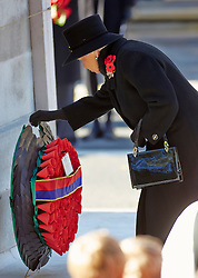 HM The Queen  during the annual Remembrance Sunday Service at the Cenotaph, Whitehall, London, United Kingdom. Sunday, 10th November 2013. Picture by i-Images