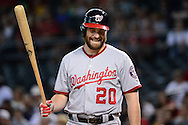 PHOENIX, AZ - AUGUST 03:  Daniel Murphy #20 of the Washington Nationals laughs during his at bat in the first inning against the Arizona Diamondbacks at Chase Field on August 3, 2016 in Phoenix, Arizona. The Nationals beat the Diamondbacks 8 to 3.  (Photo by Jennifer Stewart/Getty Images)