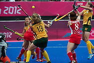 Olympics 2012, hockey, Lisa-Marue Deetlefs try to shoot the ball in the goal
