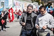 Potenza, Basilicata, Italia, 09/04/2016<br /> Il senatore di Sinistra Italiana-Sel, Giovanni Barozzino, alla marcia per il lavoro 2016, che si &egrave; svolta a Potenza.<br /> <br /> Potenza, Basilicata, Italy, 09/04/2016<br /> The senator Giovanni Barozzino (Left Ecology Freedom&ndash;Italian Left party) in Potenza, Basilicata, during the &quot;March for Work&quot; 2016.