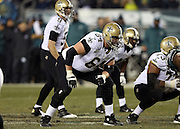 New Orleans Saints tackle Zach Strief (64) gets set during the NFL NFC Wild Card football game against the Philadelphia Eagles on Saturday, Jan. 4, 2014 in Philadelphia. The Saints won the game 26-24. ©Paul Anthony Spinelli