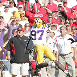 25 October 2008:  Georgia safety Reshad Jones (9) intercepts a pass in front of LSU wide receiver Jared Mitchell (87) during the Georgia Bulldogs versus the LSU Tigers SEC game at Tiger Stadium in Baton Rouge, LA.