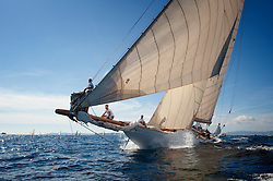 Cambria, the most recently restored 23-Metre, was eased out of the 'Big Class' racing circuit with the introduction of the larger and faster J-Class yachts. Subsequently, she was converted to a cruising yacht.<br /> <br /> More recently she was restored in Australia in time for the America's Cup Jubilee in Cowes in 2001 where she was seen racing against the three 'J' Class yachts.  She then went on to spend time between the Mediterranean and the Carribean and continued to enjoy racing.<br /> <br /> In 2004 she was sold to a new owner who was keen to have a new mast built for the boat that did not include any carbon fibre! The work was undertaken through the winter of 2005/6 at 'Classic Works' in La Ciotat, France, where they were able to take advantage of a climate-controlled tunnel and built a new Alaskan spruce mast under the experienced watchful eye of Harry Spencer. Cambria paraded her new mast around the Mediterranean classic regattas during the 2006 season and has since been seasonally racing in the Mediterranean as well as owner trips in Turkey, amongst other places. Designer:William Fife III<br /> Type of Boat:23-Metre<br /> Rig:<br /> Year Built:1928<br /> Built By:William Fife & Son, Fairlie<br /> LOA m / ft: 41.14m / 135'<br /> LOD m / ft:33.8m / 111'<br /> LWL m / ft: /<br /> Beam m / ft:6.20m / 20' 5<br /> Draft m / ft: 2.83m / 9' 3<br /> Yard No:758<br /> Sail StatsSail Area: 769 sq.m Sail No. K4<br /> Construction:composite construction<br /> Other:Original tonnage: 162