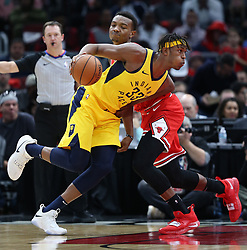 November 2, 2018 - Chicago, IL, USA - The Indiana Pacers' Myles Turner (33) drives against the Chicago Bulls' Wendell Carter Jr. in the first quarter at the United Center in Chicago on Friday, Nov., 2, 2018. The Pacers won, 107-105. (Credit Image: © John J. Kim/Chicago Tribune/TNS via ZUMA Wire)