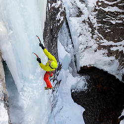 Pat Lindsay ice climbing Tasting Fear, a 30m WI5 in Kananaskis, Alberta, Canada