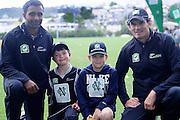 Turan Nethula and Kyle Millis with cricket fans at the National Bank's Cricket Super Camp , University oval, Dunedin, New Zealand. Thursday 2 February 2012 . Photo: Richard Hood photosport.co.nz