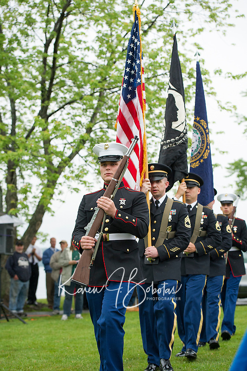 The presentation of colors at Hesky Park following the Freedom Ride on Thursday evening.  (Karen Bobotas/for the Laconia Daily Sun)