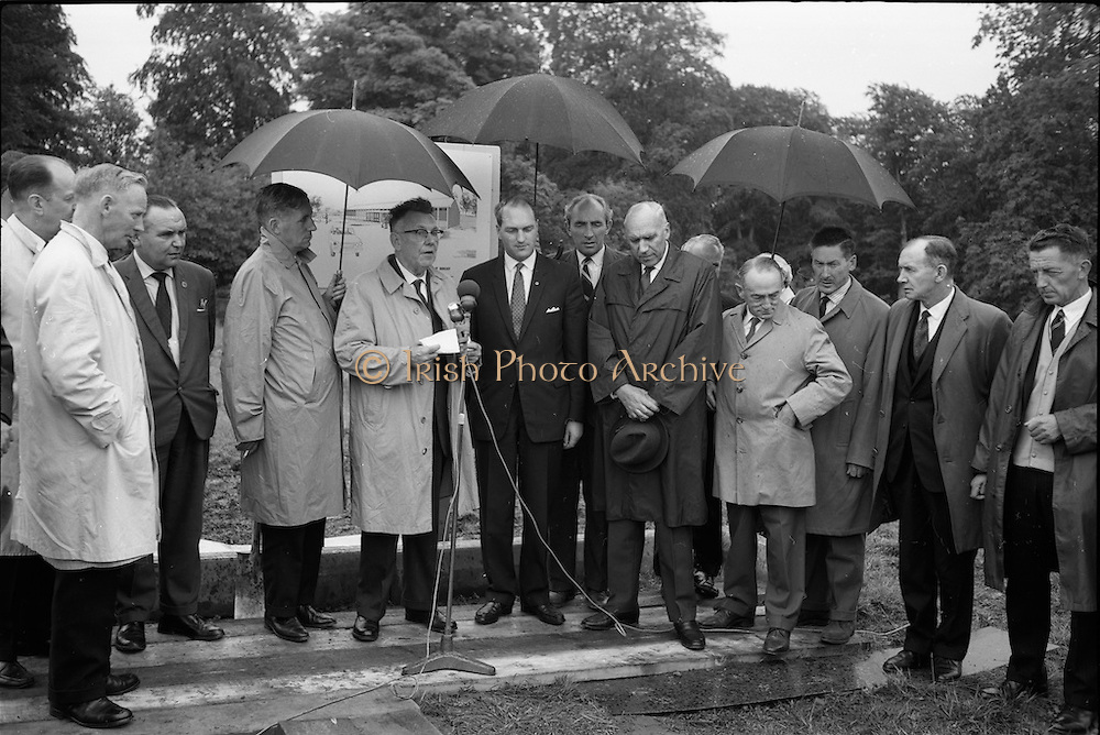 21/06/1965<br /> 06/21/1965<br /> 21 June 1965<br /> Cutting first sod for the Irish-Swiss Institute of Horology, Blanchardstown, Dublin. The institute, that was to hold courses in watch repairing,was due to an agreement between the Department of Education and the Swiss Watch Industry. Picture shows Mr. P.J. Flynn, Chairman, Co. Dublin Vocational Education Committee addressing the gathering. Mr. George Colley, Minister for Education, on right of speaker.