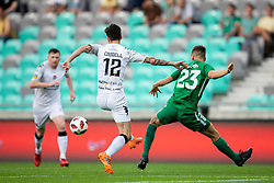 Declan Caddell of FC Crausaders and Nik Kapun of NK Olimpija Ljubljana during 1st Leg football match between NK Olimpija Ljubljana and FC Crausaders in 2nd Qualifying Round of UEFA Europa League 2018/19, on July 26, 2018 in SRC Stozice, Ljubljana, Slovenia. Photo by Urban Urbanc / Sportida