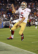 San Francisco 49ers quarterback Christian Ponder (5) leaps in the air and pumps his fist in celebration after running for a five yard touchdown run that gives the Niners a 24-21 fourth quarter lead during the 2016 NFL preseason football game against the San Diego Chargers on Thursday, Sept. 1, 2016 in San Diego. The 49ers won the game 31-21. (©Paul Anthony Spinelli)