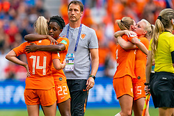 07-07-2019 FRA: Final USA - Netherlands, Lyon<br /> FIFA Women's World Cup France final match between United States of America and Netherlands at Parc Olympique Lyonnais. USA won 2-0 / Jackie Groenen #14 of the Netherlands, Liza van der Most #22 of the Netherlands