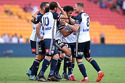 December 17, 2017 - Brisbane, QUEENSLAND, AUSTRALIA - Rhys Wiliams of Melbourne Victory (4, centre) celebrates with team mates after scoring a goal during the round eleven Hyundai A-League match between the Brisbane Roar and the Melbourne Victory at Suncorp Stadium on Sunday, December 17, 2017 in Brisbane, Australia. (Credit Image: © Albert Perez via ZUMA Wire)