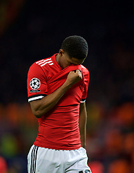 MANCHESTER, ENGLAND - Tuesday, March 13, 2018: Manchester United's Marcus Rashford walks off the pitch dejected as his side crash out of Europe losing 1-2 to Sevilla during the UEFA Champions League Round of 16 2nd leg match between Manchester United FC and Sevilla FC at Old Trafford. (Pic by David Rawcliffe/Propaganda)